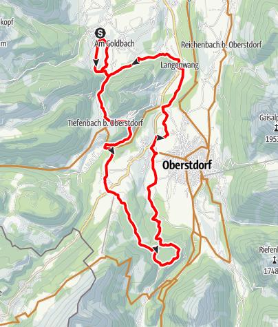 Karte / Radtour zum Freibergsee ab Obermaiselstein