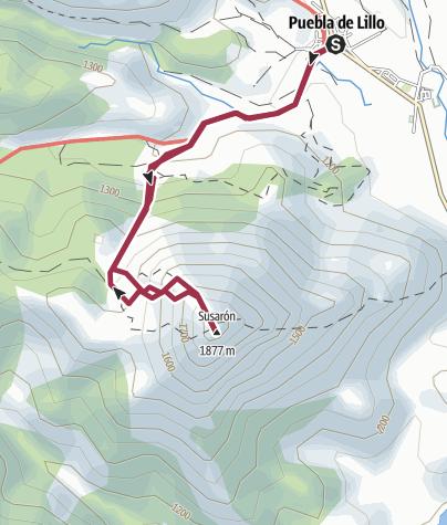 Map / El Susaron, desde Puebla de Lillo