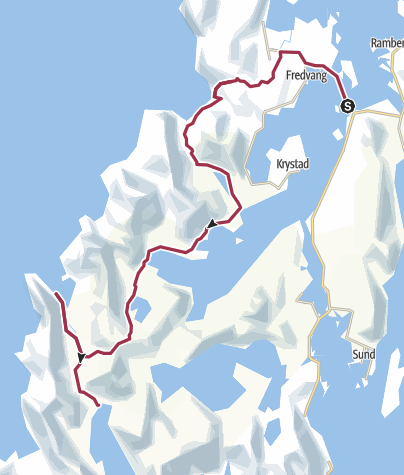 Map / Fredvang bridge to Kjerkford 28km