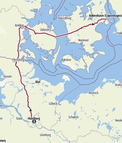 Mapa / Hamburg->Kopenhagen