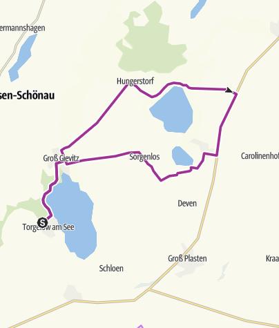Karte / Von Torgelow zum Großen Varchentiner See