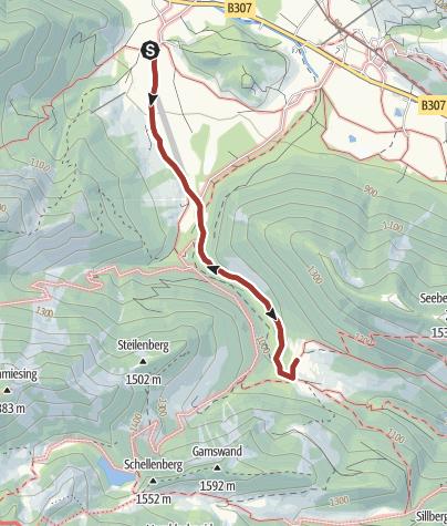 Karte / Steinadler-Erlebnisweg: Steilenbachtal Geitau / Bayrischzell (ein Projekt der Kreissparkasse Miesbach-Tegernsee)