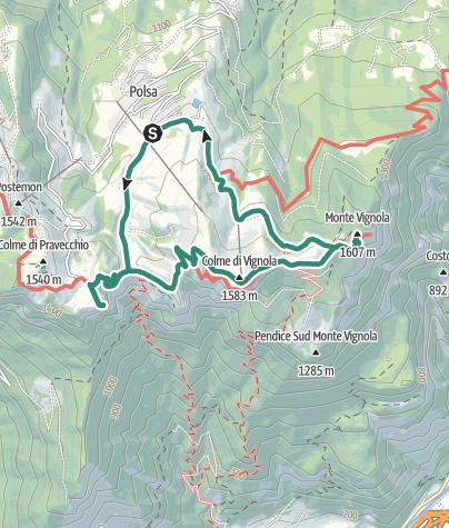 Cartina / Bocca d'Ardole - Corno della Paura - Monte Vignola