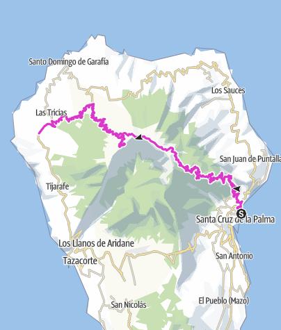 Hartă / Inselüberquerung mit Rennrad o. Mountainbike ca. 75 km u. ca. 2800 hm am Stück, von Santa Cruz über den Roque de los Muchachos (2426 m)