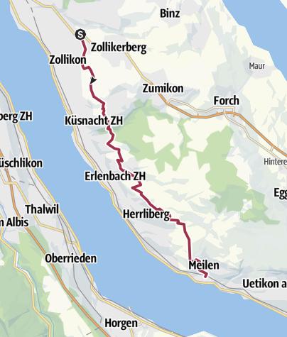 Karte / Panoramaweg Zürichsee, Zürich - Meilen