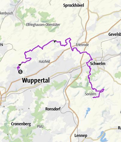 Karte / Jogging von Katernberg über die Höhe, Schwelm nach Beyenburg