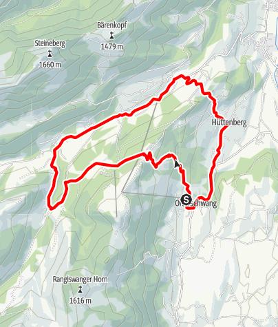Karte / Radtour von Ofterschwang über Alpe Eck und Geißrückenalpe