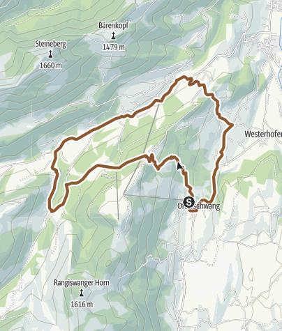 Map / Cycling tour from Ofterschwang over Alpe Eck and Geißrücken Alpe