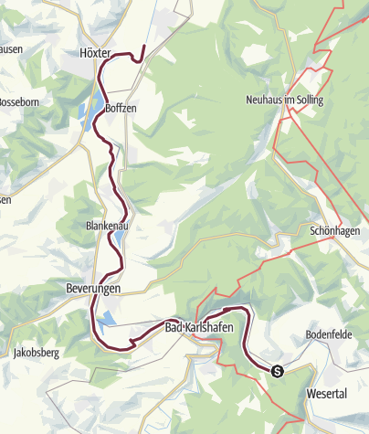 Kaart / Weser-Radweg - Etappe von Bad Karlshafen bis Höxter