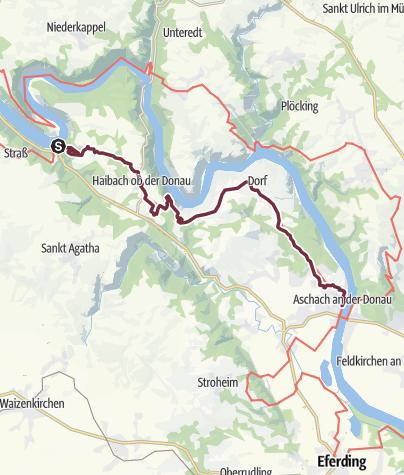 """Karte / Donausteig Etappe 1_S04 Schlögen - Aschach: """"Von der Schlögener Schlinge ins Eferdinger Becken"""""""