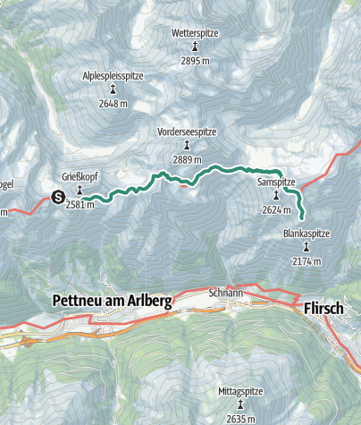Map / Kaiserjochhaus -  Uebergang zur Ansbacher Huette