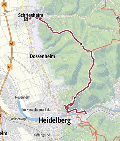 Karte / Im Odenwald von Schriesheim nach Heidelberg im Neckartal