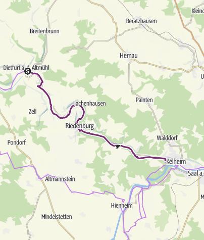 Karte / Altmühltal-Radweg: Etappe Dietfurt - Riedenburg - Kelheim