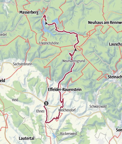 """Cartina / Wanderung - """"Goldpfad"""" von Almerswind nach Goldisthal - Thüringer Wald"""