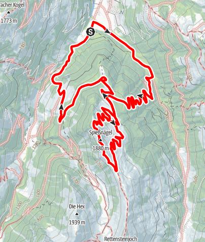 Karte / Von Aschau bei Kirchberg in Tirol auf die Spießnägel