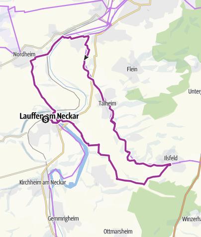 Karte / Auf der alten Bahnlinie von Lauffen nach Neckarwestheim