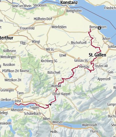 Karte / Vom Bodensee an den Zürichsee, 9 Etappen von Bahnhof zu Bahnhof