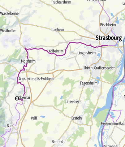 Carte / Tour d'Alsace :Etape 8: Obernai_Strasbourg
