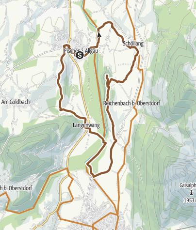 Karte / Radtour ab Fischen über Schöllanger Burg und Iller-Ursprung