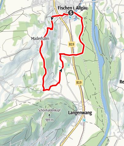 Karte / Bergpanorama Nordic-Walking-Tour ab Fischen