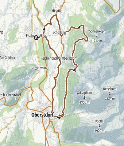 Karte / Stitzl-Gaisalp-Radrunde ab Fischen