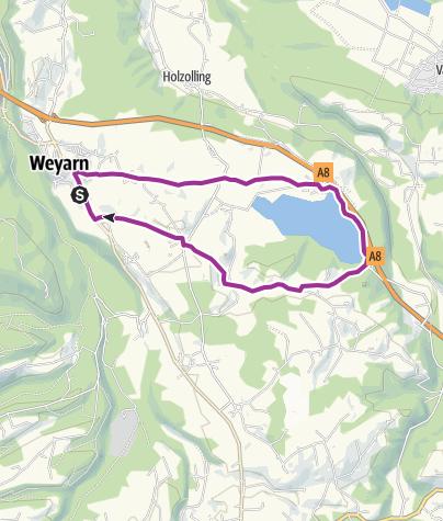"Karte / Weyarn - Seehamer See (Tour Nr. 73 aus dem ""RadlTraum Nord"")"
