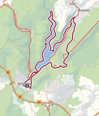 Karte / Um die Talsperre Nonnweiler