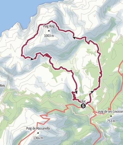 Karte / Sonntags von Lluc um das Puig-Roig-Massiv auf Mallorca