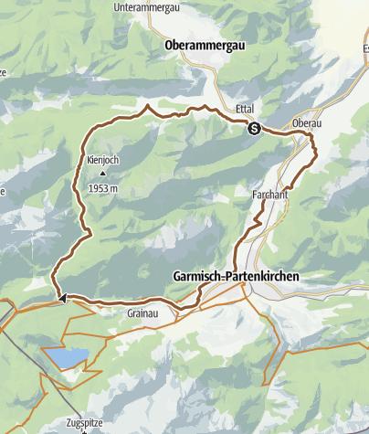 Karte / Mit dem Bike von Ettal rund um die Kramerspitze
