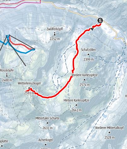 Karte / Wetterkreuz - Kühtai