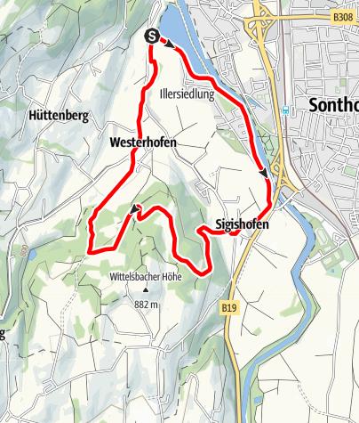 Karte / Kleine-Iller Nordic Walking Runde bei Ofterschwang