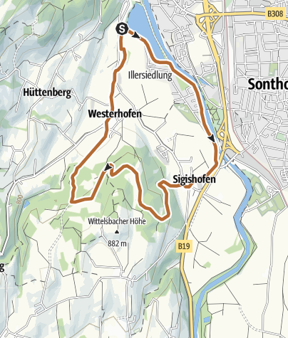 Map / Short Nordic walking round at the Iller near Ofterschwang