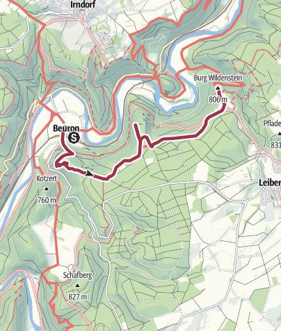 Karte / Von Beuron zur Burg Wildenstein
