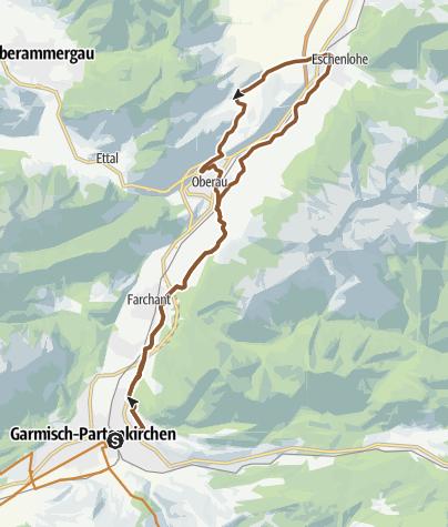 Karte / Radltour von Garmisch-Partenkirchen ins Katzental