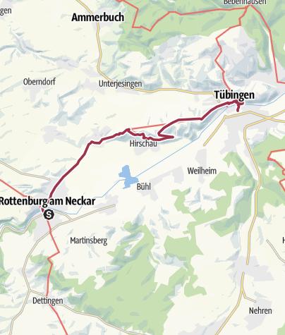 Karte / Auf dem Neckarweg von Rottenburg nach Tübingen