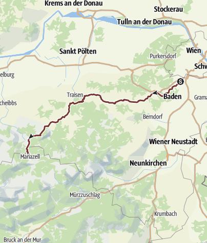 Karte / Via Sacra: Gesamtverlauf von Brunn am Gebirge nach Mariazell
