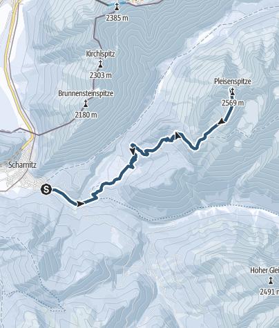 Karte / Skitour von Scharnitz auf die Pleisenspitze