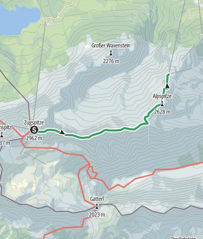 Karte / Alpine Bergtour über den Jubiläumsgrat von der Zugspitze zur Alpspitze
