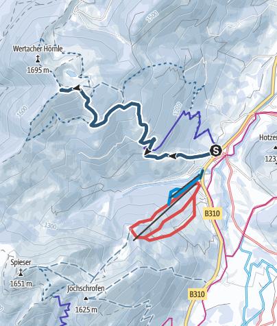 Karte / Von Unterjoch auf das Wertacher Hörnle