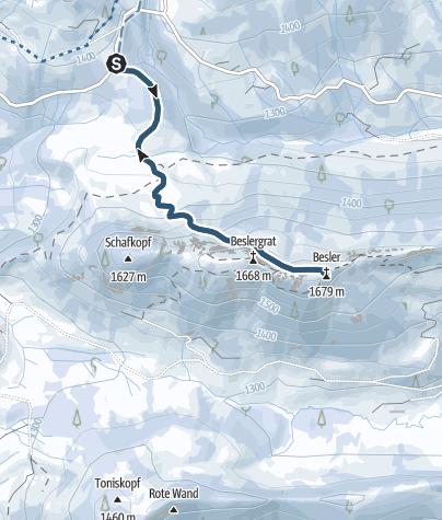 Karte / Skitour vom Riedbergpass auf den Besler