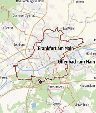 Karte / GrünGürtel Rundwanderweg Frankfurt