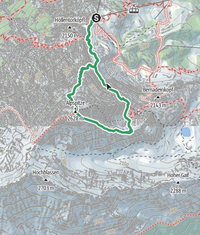 Karte / Alpspitz-Ferrata - Klettervergnügen zum Alpspitzgipfel