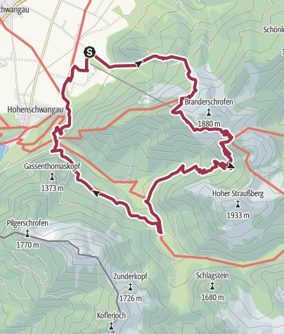 Karte / Wanderung über den Tegelberg zum Märchenschloss Neuschwanstein