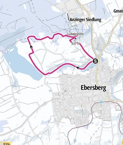 Karte / Winterwanderung um die Weiher von Ebersberg