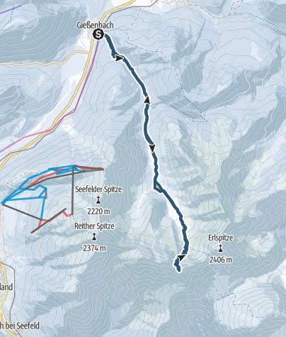 Karte / Skitour auf die Kuhlochscharte über Scharnitz