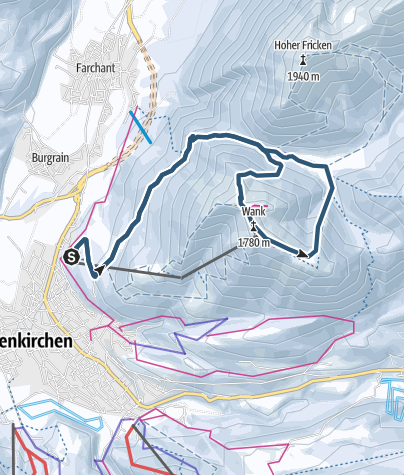 Karte / Skitour: Wank von Garmisch-Partenkirchen