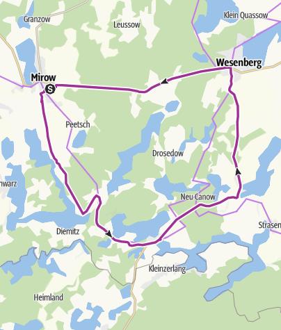 Radweg Mecklenburgische Seenplatte Karte.Von Mirow Durch Die Kleinseenplatte Nach Wesenberg Radtour