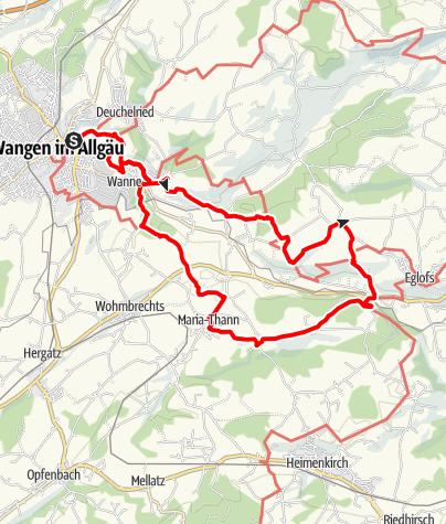 """Karte / Wanderrundweg 6: """"Über Durrenberg, Eglofs und Maria-Thann durch den Atzenberger Wald"""""""