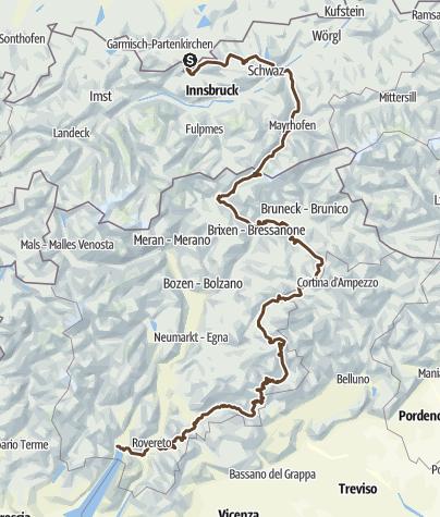 Karte / Von Mittenwald nach Riva del Garda durch das Zillertal und die Dolomiten