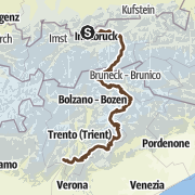 Kartta / Von Mittenwald nach Riva del Garda durch das Zillertal und die Dolomiten